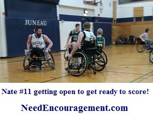 Nate does not let being in a wheelchair stop him from playing some extremely good basketball!Dispite his disability.