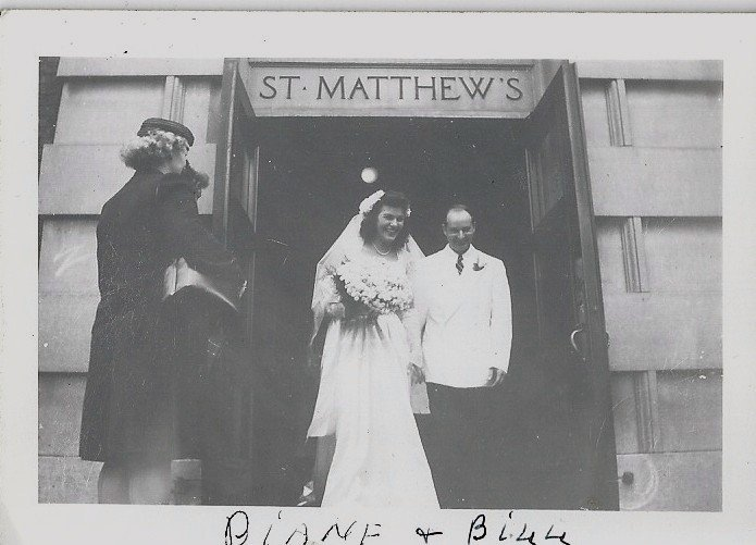 This is my mom and dad at St. Matthew's church on their wedding day!