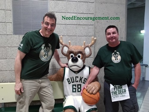 Kevin Reddy and myself at a Bucks playoff game!